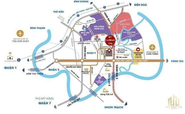 Hình 1: Bản đồ cho thấy sự tiện lợi từ vị trí dự án MT Eastmark City đến nhiều khu vực lân cận